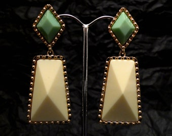 Marshmallow with Gold Details Dangle earrings