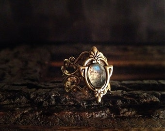 Aria- Adjustable Labradorite Brass Ring, Antique Labradorite Ring, tribal labradorite ring, vintage labradorite ring, boho ring, ornate ring