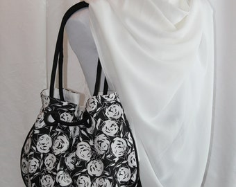 Mother's Day Gift, Summer Grommet Purse, Summer Purse in Black and White Floral (Romance)