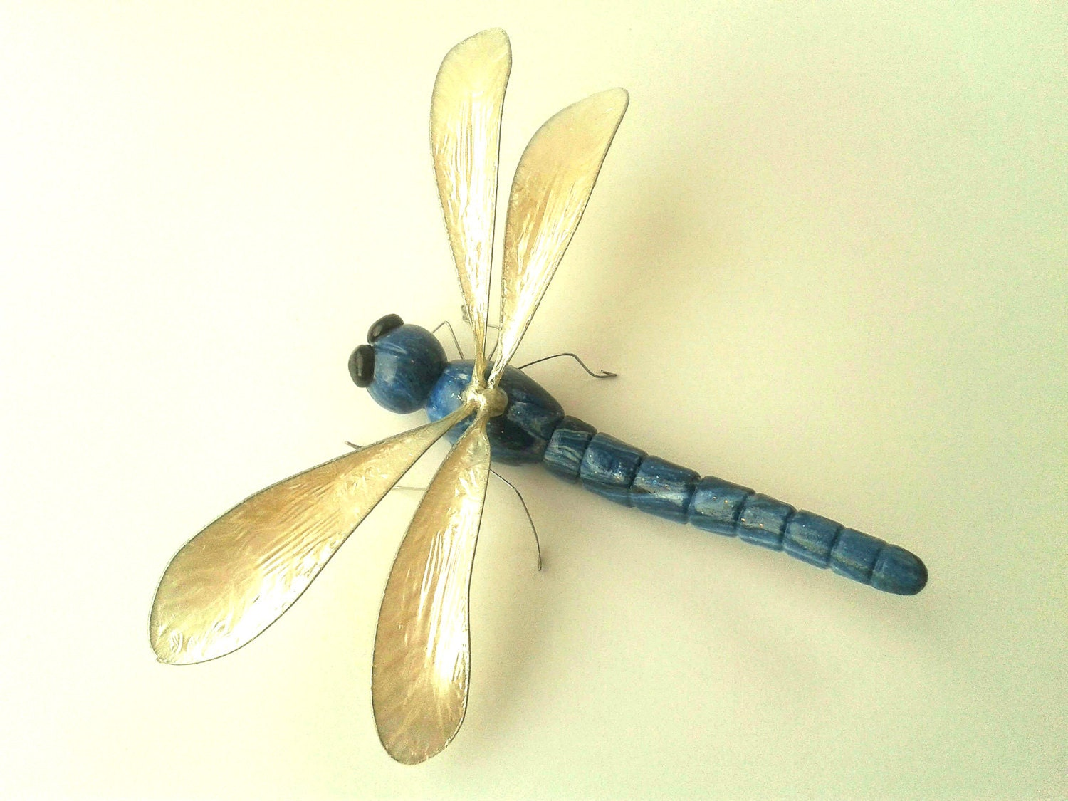 Blue Dragonfly Sculpture Polymer Clay Bug Ornament Insect