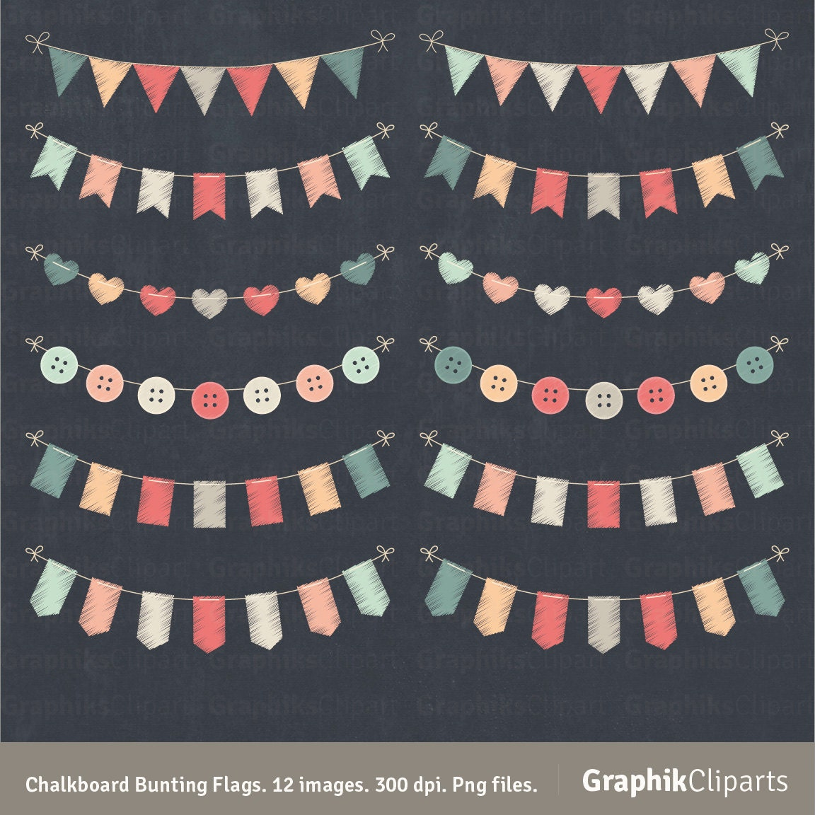 "Chalkboard Bunting Flags Clipart. ""BUNTING SET"". Doodle ..."