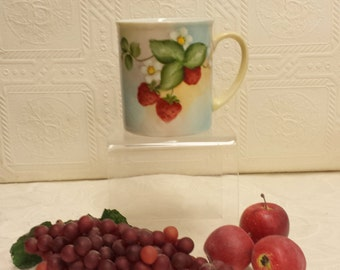 Lovely Hand Painted Porcelain Mug with Strawberry Blossoms and Strawberries; Great Gift Item!