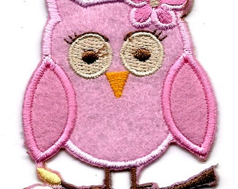pink OWL Bird on tree branch Hoot Hoot w pink flower Embroidered Iron on / Sew on patch Applique ~ animal
