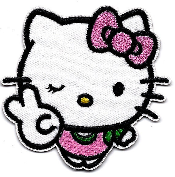 Hello Kitty wink and peace symbol Embroidered Iron On / Sew On