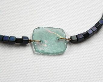 Ancient Glass Necklace w/ Indigo Square Beads