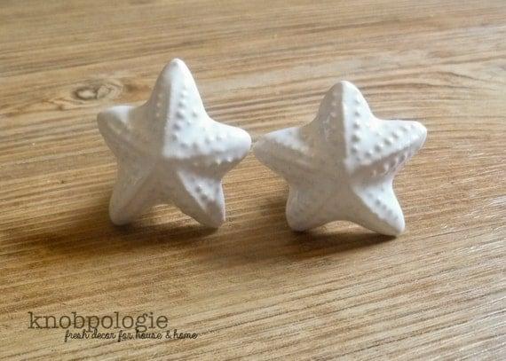Set Of 2 Small White Ceramic Starfish Knobs Glossy Glazed