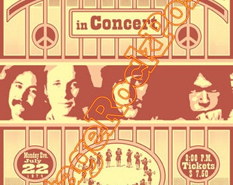 120 - CROSBY, STILLS, Nash and Young - St. Paul, Us - 22 july 1974 - artistic concert poster