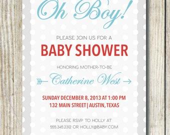 Custom Baby Shower Invitation - Oh Boy!
