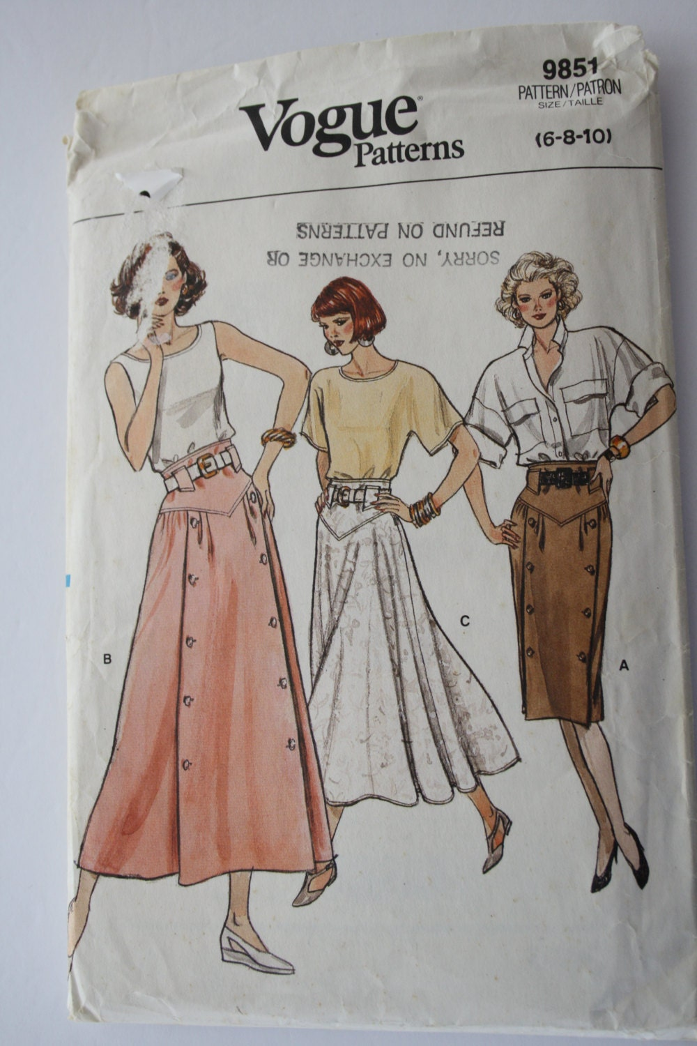 1980s s vogue a line skirt sewing pattern flared
