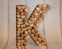 Wine Cork Letter, Freestanding or Wall Mount Wine Cork Letter, 12 Inch High Letter