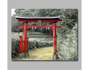 Japanese torii gate. Asian canvas print. Digitally signed. Asian art photography. Photo wrap. Wall art. Ready to hang. Large canvas print.