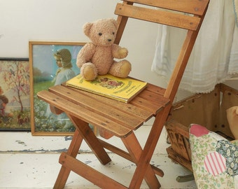 Vintage child's chair, folding chair, wooden chair, kids chair, children's furniture REDUCED