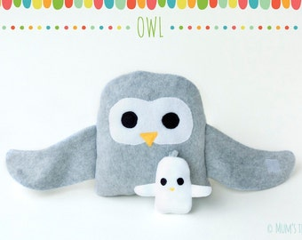 Owl plush toy set—hugging large and small bird stuffed animals