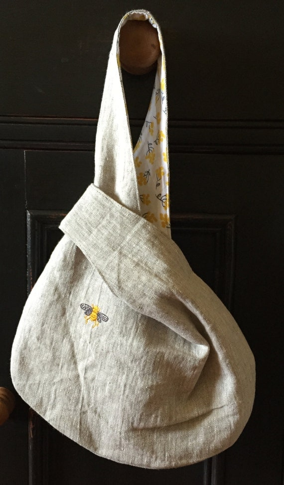 Natural linen knot bag napoleonic bee embroidery fully lined