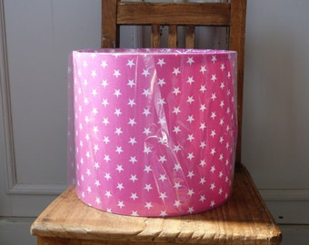 20cm TABLE LAMP Shade Hand Rolled with pretty Pink & White Star cotton fabric