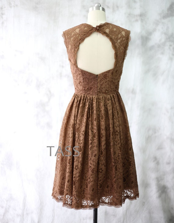 Cocktail dress brown bridesmaid dress wedding dress by for Brown lace wedding dress