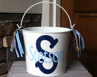 Personalized Boy's Bucket/Pail - Nautical- Easter Bucket
