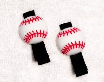 Baseball Hair Clippies Clips- Set of 2 Boutique Lined Hair Clips w Baseball Embellishments - Great for Baseball Games - Red, Black & White