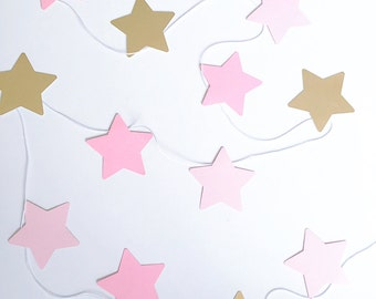 Pink and Gold Foil Stars Garland