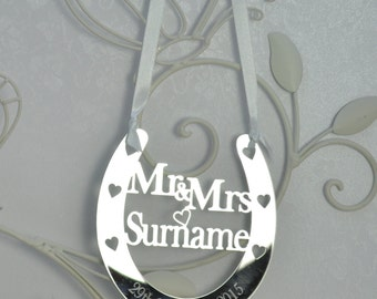 Unique Personalised Wedding Mr & Mrs Good Luck Horseshoe Bridal Gift and Lucky Keepsake Mirror Acrylic Ideal Present - Little Shop of Wishes