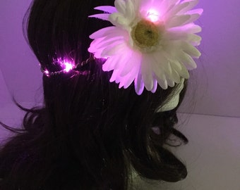 Large White daisy with Pink LED flower crown