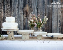"""Rustic Cake Stand 8"""" 10"""" 12"""" 14"""" 16"""" ~ Aspen Wood Cake Stand ~ Rustic Wedding, Barn Wedding, Rustic Cake Stand, Log Cake Stand"""