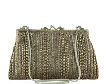 Vintage Style Evening Bag, Gold Silver Beaded Clutch, Grey Satin Sequin Clasp Purse, Silver Gold Evening Bag, Grey Silk Evening Bag, Golden