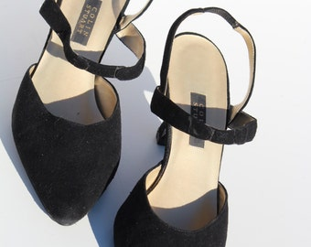 Colin Stuart Vintage Velvet Slingback Low Heel Shoes, Black, Size 7 1/2 Ankle Strap, Ladies Evening Wear Party Sling Back Elastic Strap Shoe