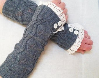 Women's Knit Arm Warmers, Lace Arm Warmers, Fingerless Gray Open-Knit Arm Warmers