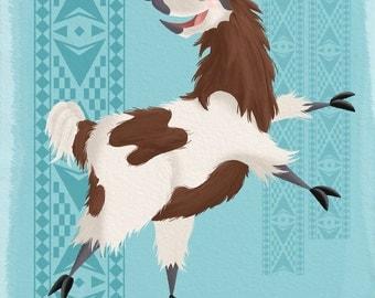 Blue Llama Print