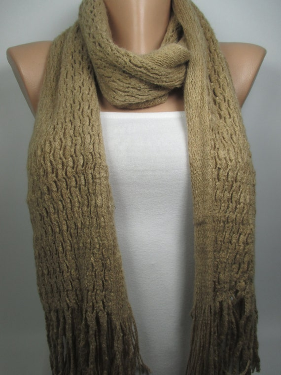 Knitted Scarf Camel Cowl Scarf Fashion Scarf Long Scarf Women