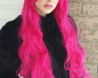 SALE! HOTTIE-LICIOUS Pink curly long wig//Mermaid//Lolita/ Glamour//Classy//Rave//Scene