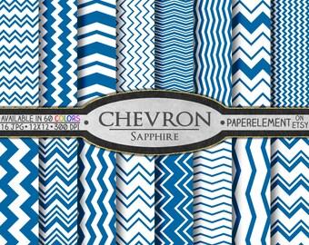 Sapphire Digital Paper Pack - Instant Download - Digital Blue Chevron Scrapbook Paper