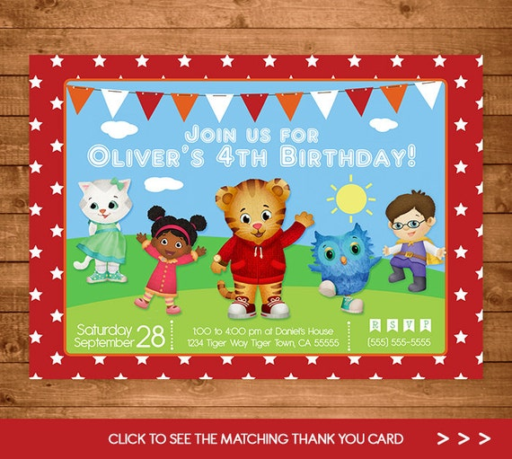 Daniel Tiger Invitation Red Stars -- Daniel Tiger Invite -- Daniel Tiger Birthday -- Daniel Tiger Thank You Card