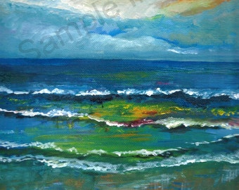 Wave after Wave 2. Giclee Print of Original Oil Painting by English Artist Claire Strickland
