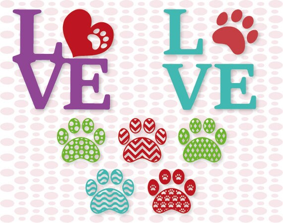 Download Patterned Paw Print Love designs SVG DXF EPS Vinyl cutting