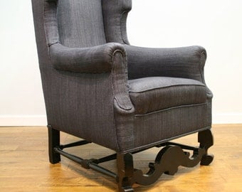Early 20th Century Wing Chair Restored and Re Upholstered