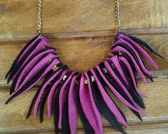 Fuchsia Black Leather Fringe Necklace, Magenta Black Leather Fringe Necklace, Boho Hippie Fringe necklace, Two-tone Leather Fringe Necklace