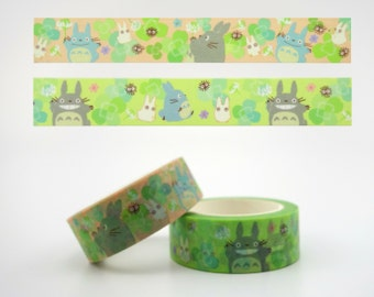 My Neighbor Totoro Japanese washi tape rolls - kawaii Totoro washi tape - Studio Ghibli washi - Four leaf clover making tape, Hayao Miyazaki