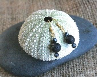 Newport earrings, lava rock earrings, black earrings, lava jewelry, natural jewelry, volcanic rocks, gold earrings, dangle earrings, lava