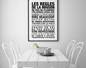 les regles de la maison typographic art kitchen wall art french decor digital download scandinavian design 70x100 50x70 24x36 a4 - Decoration De Maison Pdf