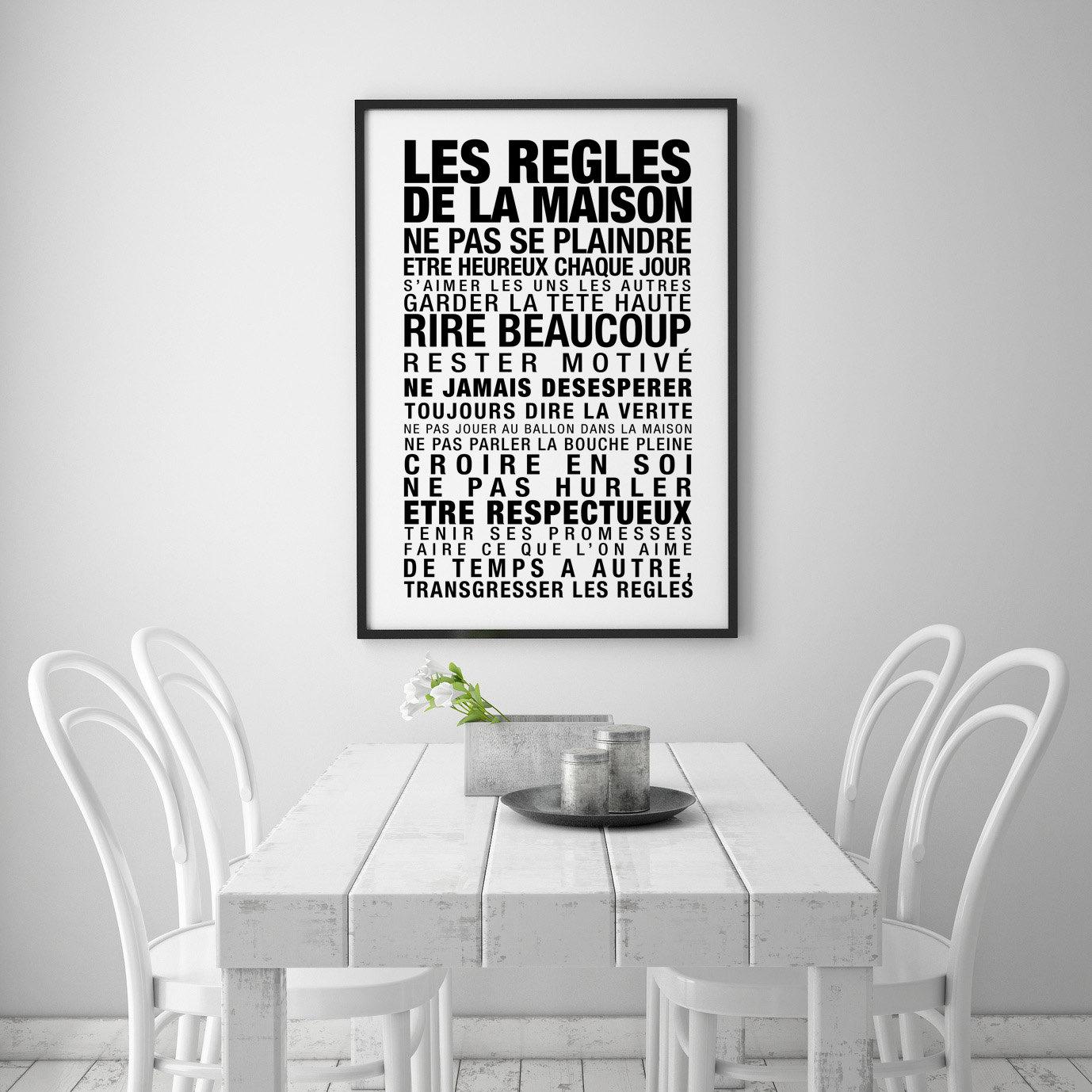 les regles de la maison typographic art kitchen wall art. Black Bedroom Furniture Sets. Home Design Ideas