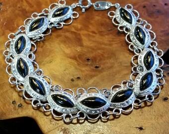 Silver and Onyx Link Bracelet - Ornate Design