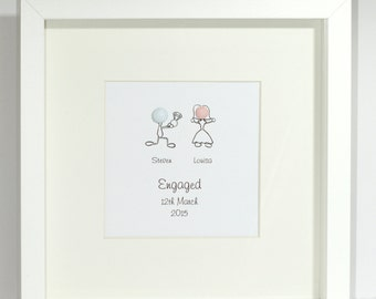 personalised engagement framed present capture that special moment date stick sketch people with 3d heads great engagement gift