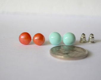 FREE SHIPPING, small stud earrings, coral stud earrings, mint ball stud earrings, mint studs, coral pink studs,mint earrings,coral earrings