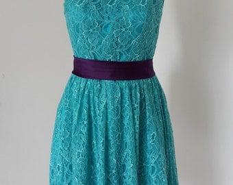 2015 One-shoulder Teal Lace Short Bridesmaid Dress with Dark Purple Sash