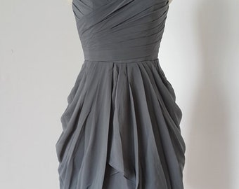 2015 Sweetheart Charcoal Grey Chiffon Short Bridesmaid Dress