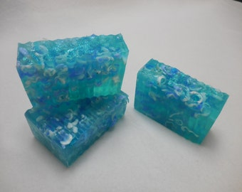 Sea Glass SOAP LOAF - Decorative Beach Soap - Unique Blue Soap - Handmade Ocean Soap - Ocean Soap - Moisturizing Glycerin Soap - Homemade