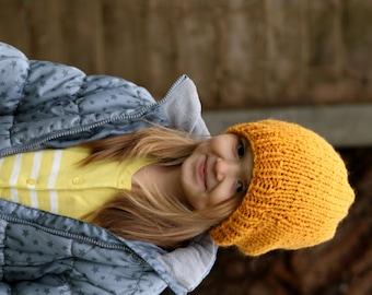 Slouchy Beanie, Hand Knit Hat, Kids Hat, Children Knitted Hat, Slouchy Beanie for Girls, Girls Accessories, Fall Fashion,Gold
