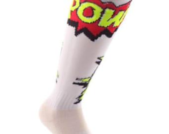 Samson® Comic POW Funky Socks Knee High Sport Football Rugby Soccer